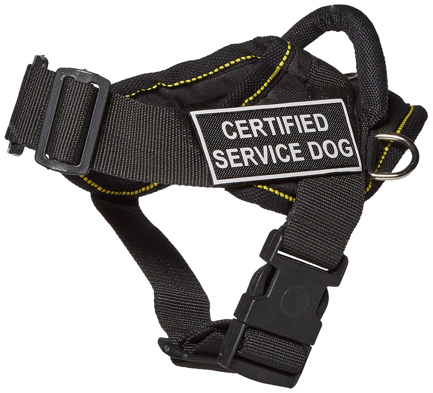 Dean & Tyler Fun Works Harness, Certified Service Dog, Black with Yellow Trim, X-Small, Fits Girth Size  20-Inch to 23-Inch