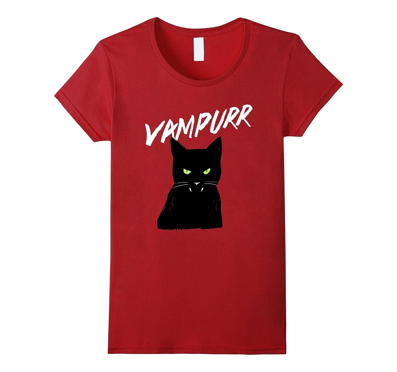 Vampurr Vampire Black Cat T-Shirt Halloween Tee-Awarplus