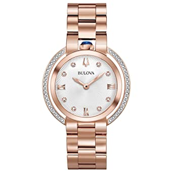 6f1de3b6d Ladies' Bulova Rubaiyat Diamond Rose Gold-Tone Stainless Steel Watch 98R248