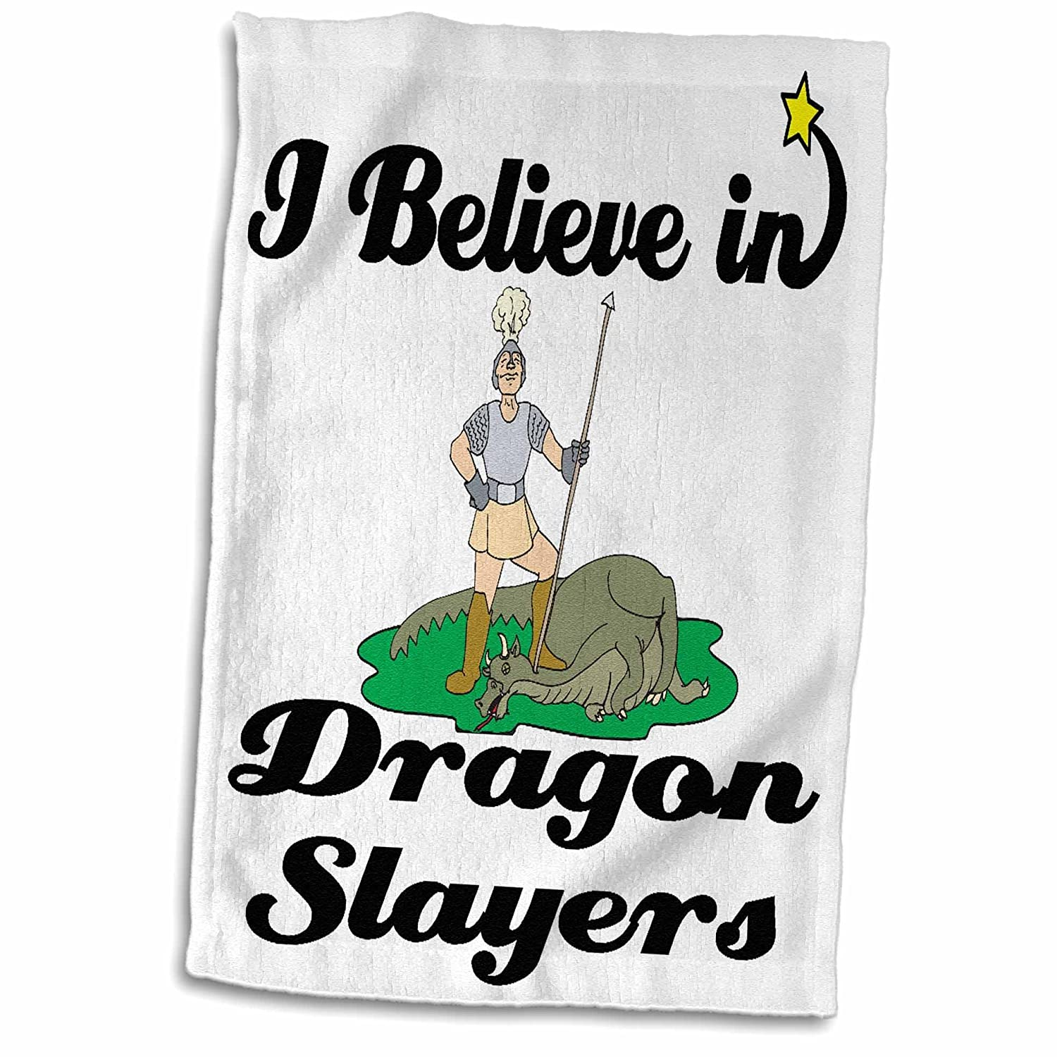 3D Rose I Believe in Dragon Slayers Hand//Sports Towel 15 x 22