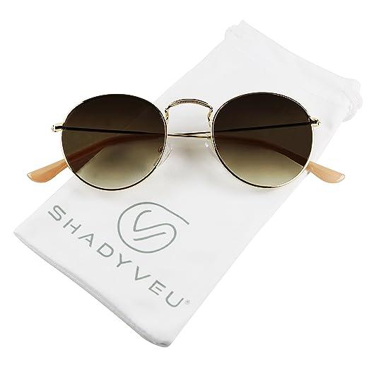 5a2fc553dd ShadyVEU - Retro Vintage Small Metal Wire Round Circle Classic Hippie  Unisex Sunglasses (Gold Frame