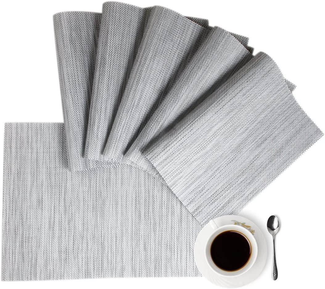 Set of 4 PVC Place Mats Kitchen Dining Table Placemats Non-Slip Washable Gray
