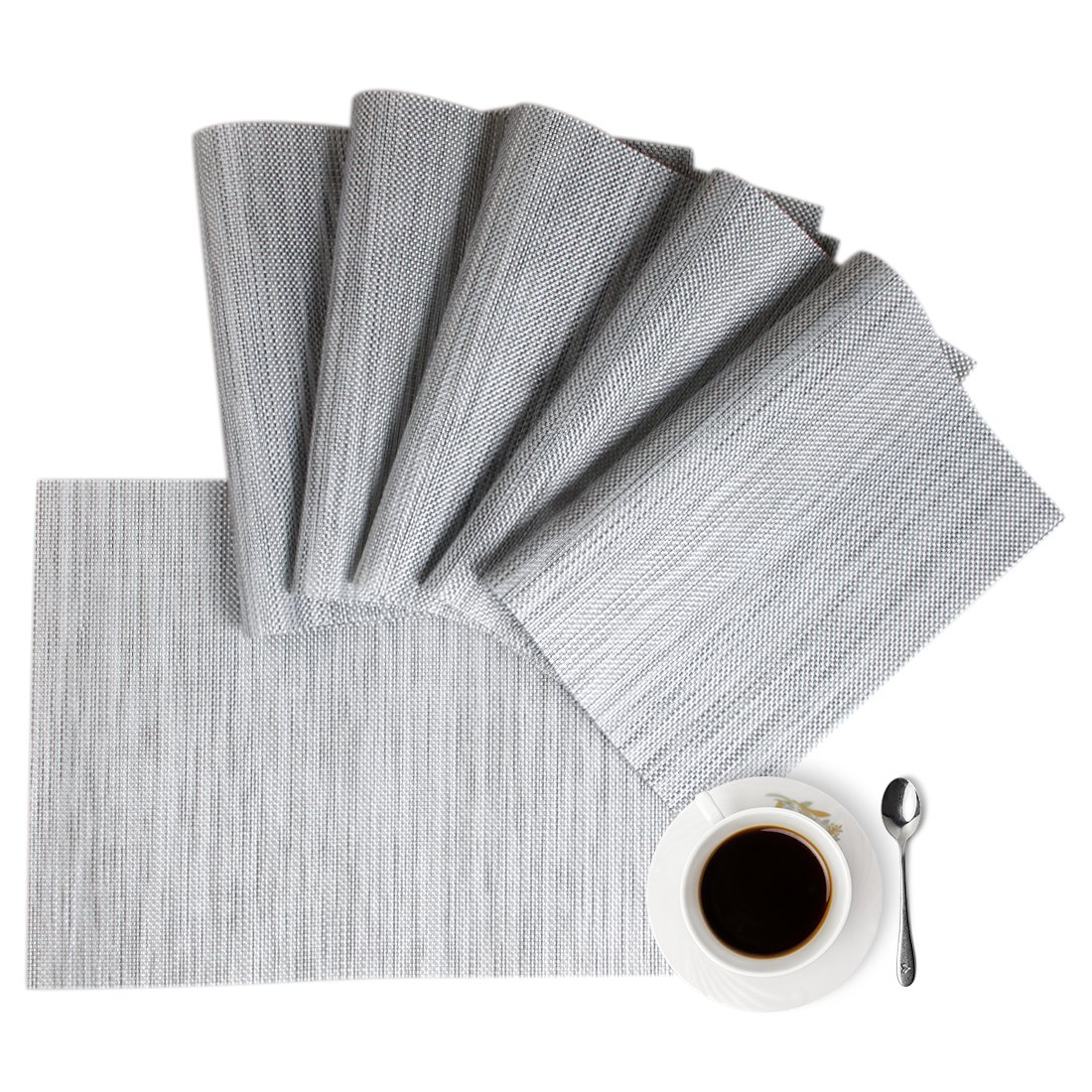 Placemats,Table Mats,Placemat Set of 8 Non-Slip Washable Place Mats,Heat Resistant Kitchen Tablemats for Dining Table (Gray)