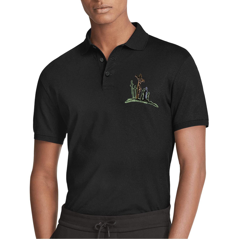 AIKYAN Good Friday Clipart 1 Printed Mens Polo Shirt Tropical Beach Holiday