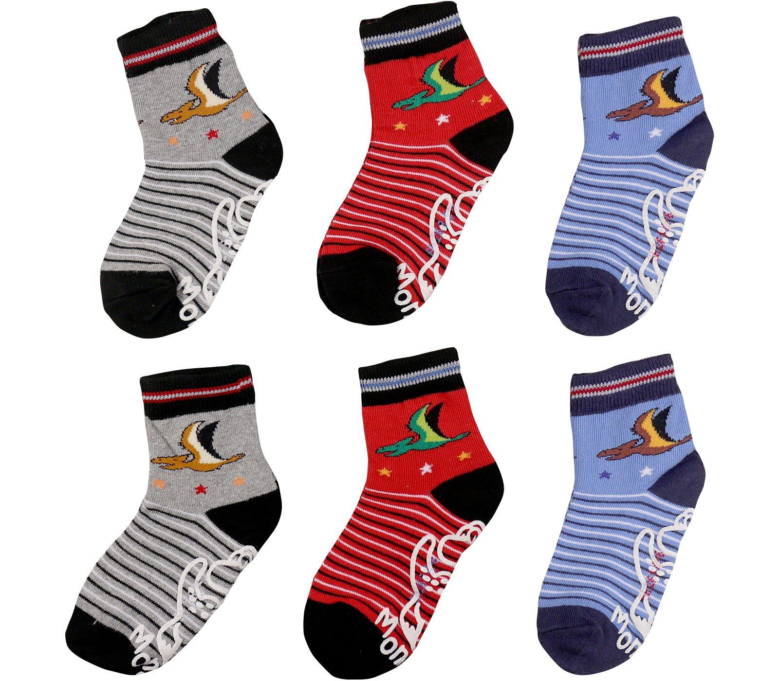 Nonskid socks for boys,kids,toddlers,Anti Slip Slippery Crew Socks with grips(6-pack)