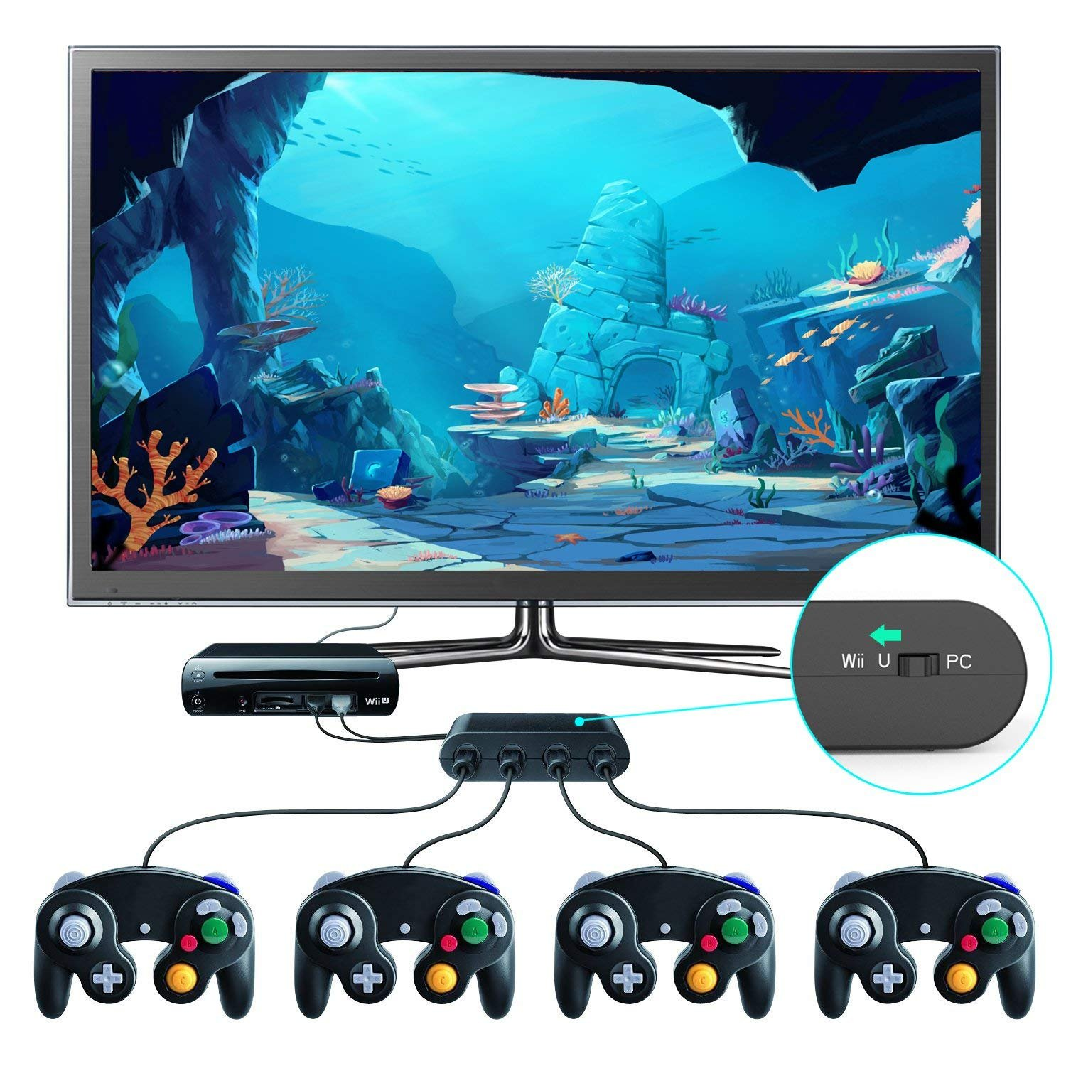 Gamecube Controller Adapter. Super Smash Bros Wii U Gamecube Adapter for Pc, Switch. No Driver Need and Easy to Use. 4 Port Black Gamecube Adapter(Improved Version) by Cloudream (Image #5)