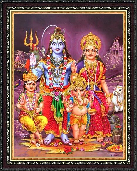 Avercart Lord Shiva With Parvati Ganesh And Kartikey Poster 21x28 Cm