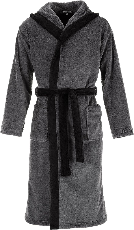 Di Ficchiano Monza - Albornoz con capucha para hombre, mullido, de fibra de roble noble, kimono con selección de colores y tamaños, XXS – 5XL, certificado Öko-Tex Standard 100