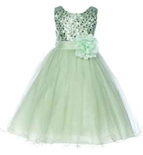 Sequins Mesh Flower Girl Dress Birthday Wedding Pageant Communion Toddler 124NF