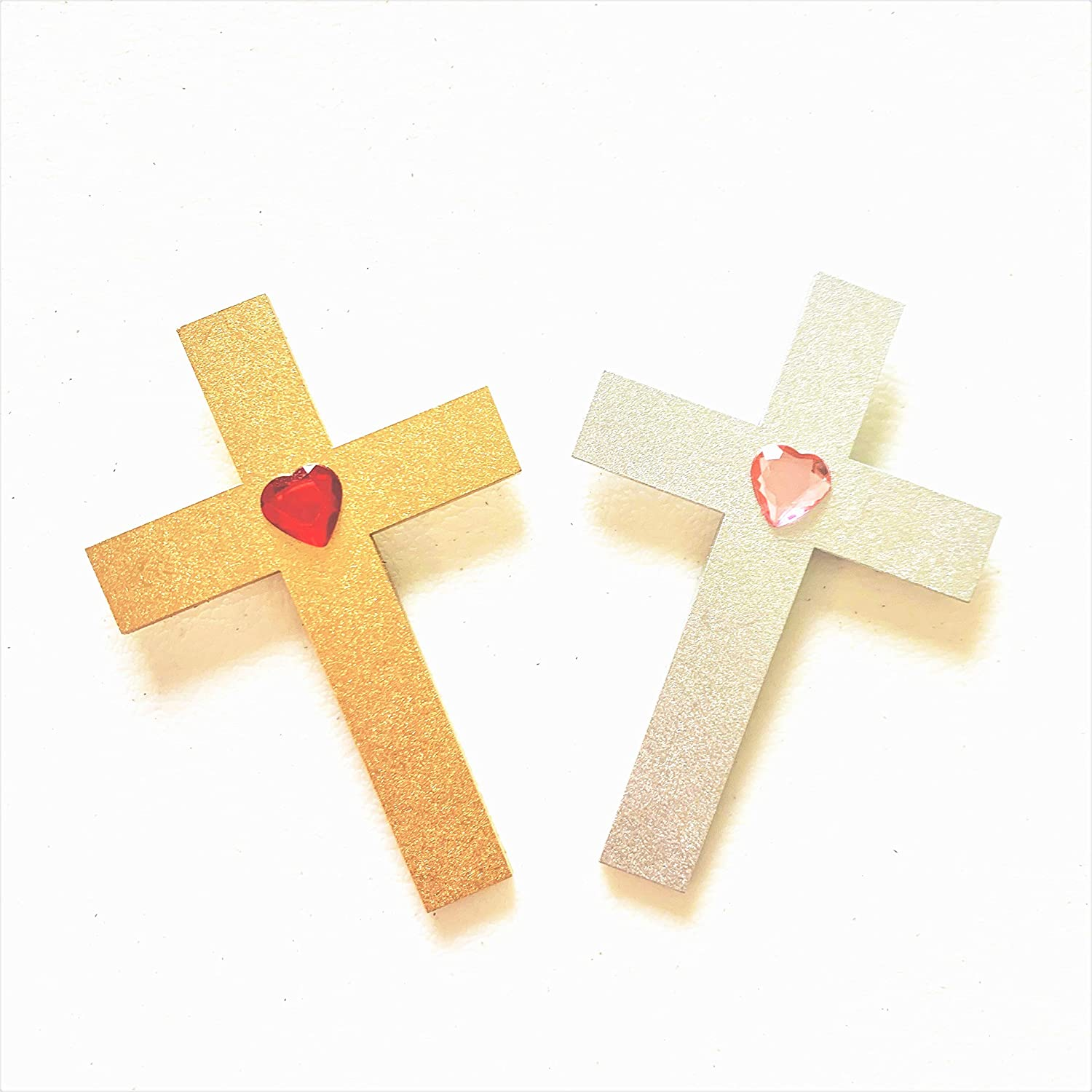 Wooden Cross Magnets | 2 PCS | Beautiful Handmade|Fridge Refrigerator Car Home Office Cabinets Whiteboards Lockers Classroom Church Decor Gold Silver Glittery Shimmer Favors Christian Family|3.5x2.5in