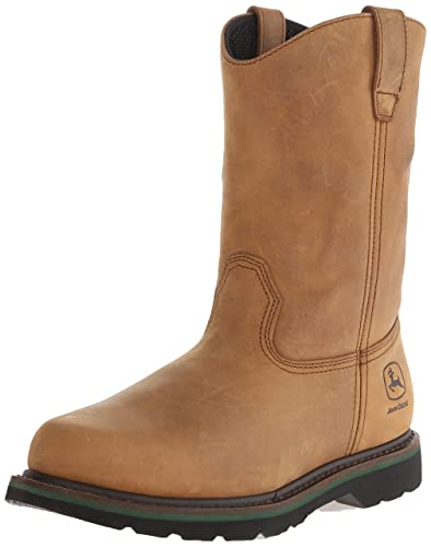 John Deere Mens Leather Pull-On Work Boot Round Toe Crazyhorse 6 D(M
