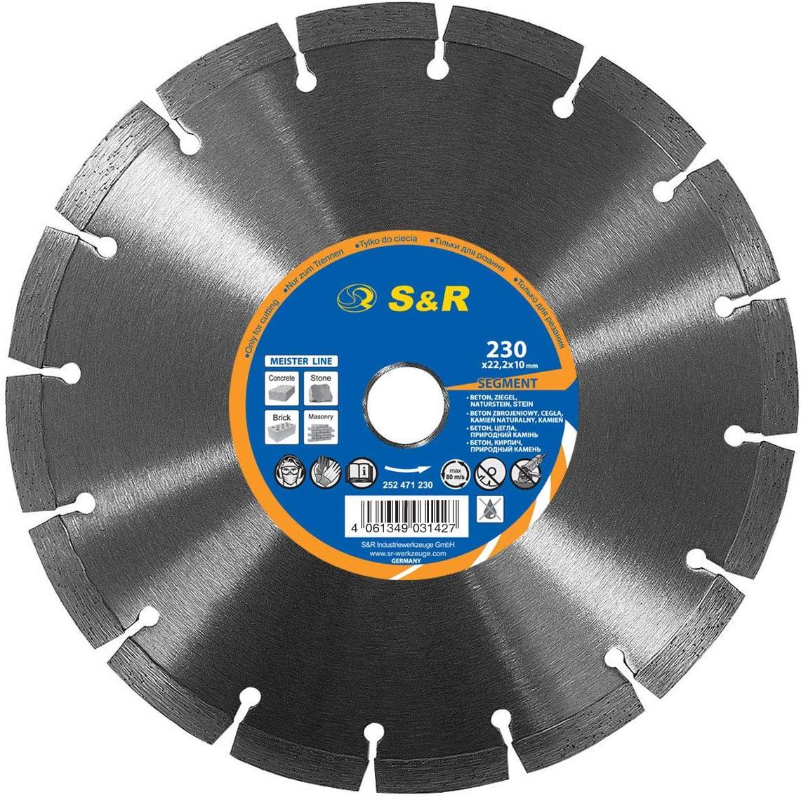 S&R Disco Tronzador Diamante 230 mm x22,2 para Hormigón, Piedra natural, piedra, Ladrillo. Turbo Disco Diamantado Universal para cortar todo tipo de materiales de construcción