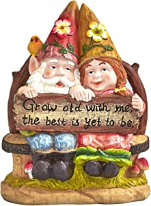 The Lakeside Collection Happy Gnome Couple on Bench - Whimsical Outdoor Garden Decoration