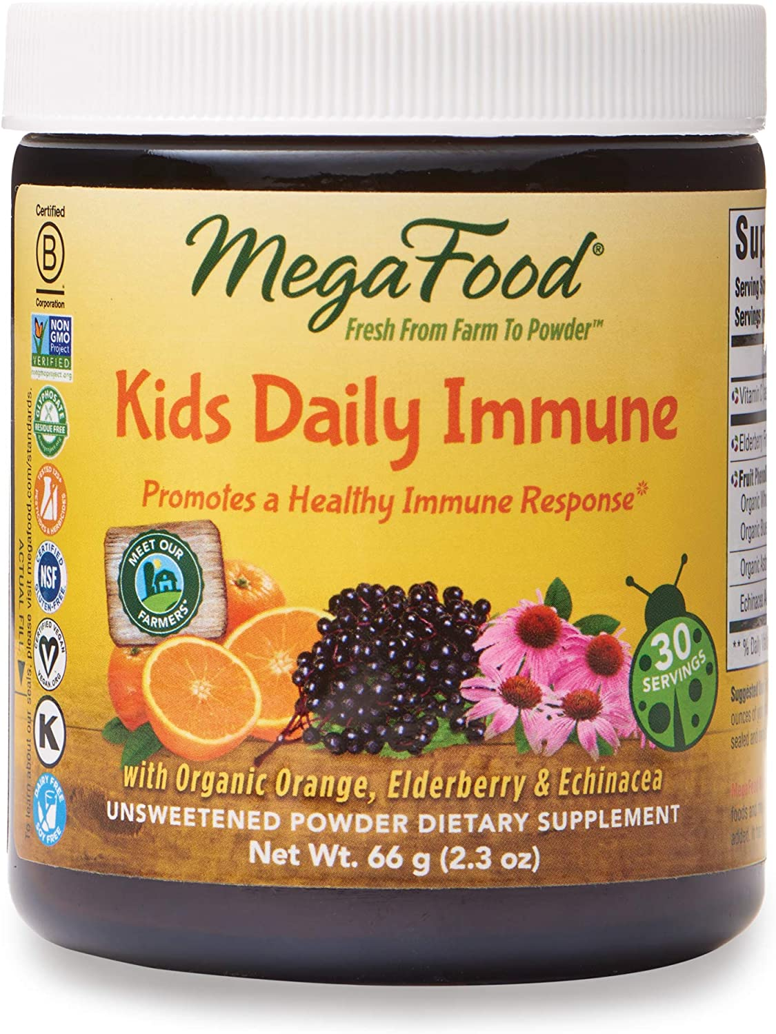 MegaFood, Kids Daily Immune Booster Powder, Promotes a Healthy Immune Response, Drink Mix Supplement, Gluten Free, Vegan, 2.3 oz (30 Servings)