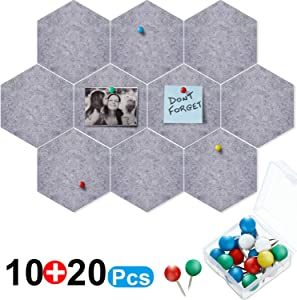 10 Packs Pin Board Hexagon Felt Board Tiles Bulletin Board Memo Board with 20 Pieces Push Pins, Decoration for Home Office Classroom Wall (Gray, 5.9 x 7 Inches/ 15 x 17.7 cm)