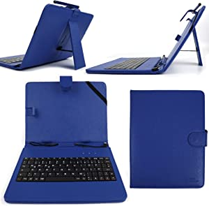 "DURAGADGET Blue Faux Leather 8"" Case with Micro USB German Keyboard for Lenovo IdeaTab A8-50"