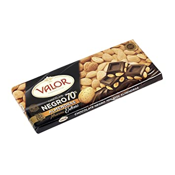 Valor Dark Chocolate Bar (70% Cacao) w/Mediterranean Almonds from Spain 250gr