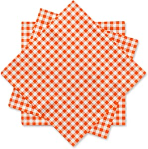 Gatherfun Disposable Paper Napkins 3-ply Orange and White Gingham Beverage Napkins for Dinner, Picnic, Birthday Party(6.5X6.5 in, 50-Pack)
