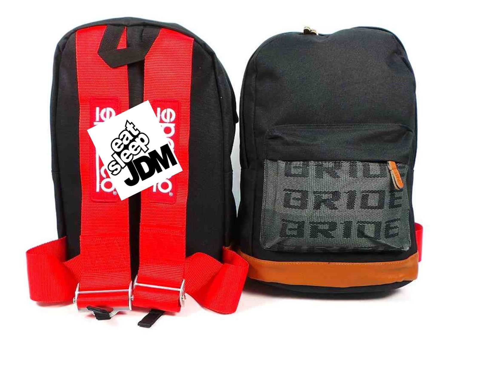 JDM Racing Backpack brown bottom with Red SP Racing Harness Shoulder Straps Super Cool NEW by Generic (Image #1)