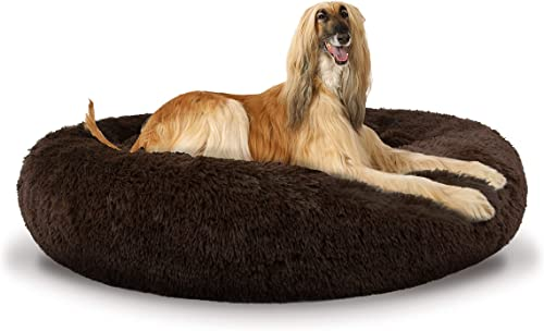 The Dog s Bed Sound Sleep Donut Dog Bed, XL Chocolate Brown Plush Removable Cover Premium Calming Nest Bed