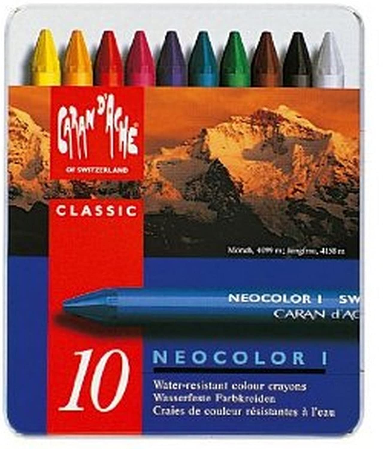 Caran Dache Neocolor I Set Of 10 Wax Oil Crayons Pastels Colour Water Resistant Art Sketching Metal Case 7000_310