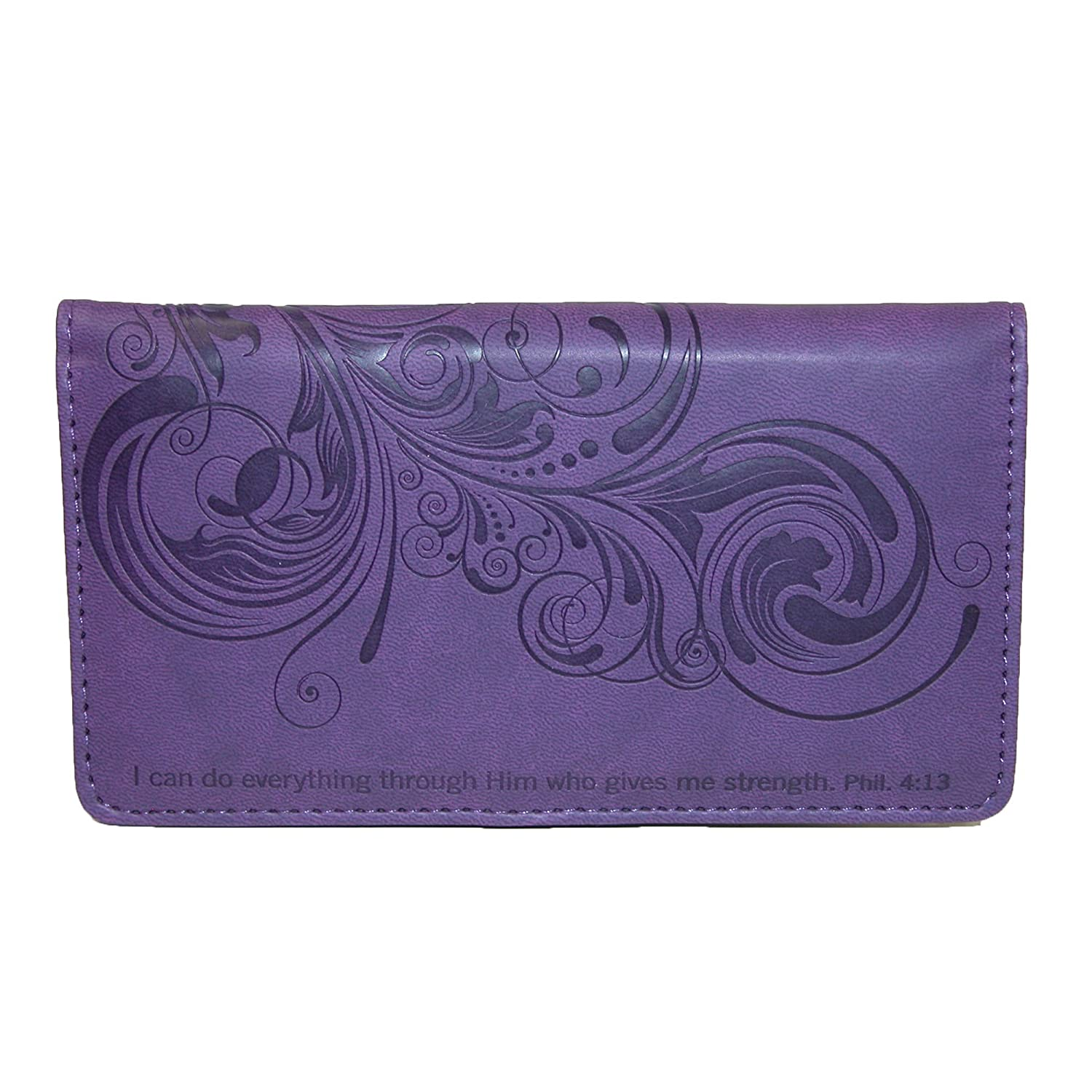 Christian Art Gifts Women's Religious Script Checkbook Cover, Purple