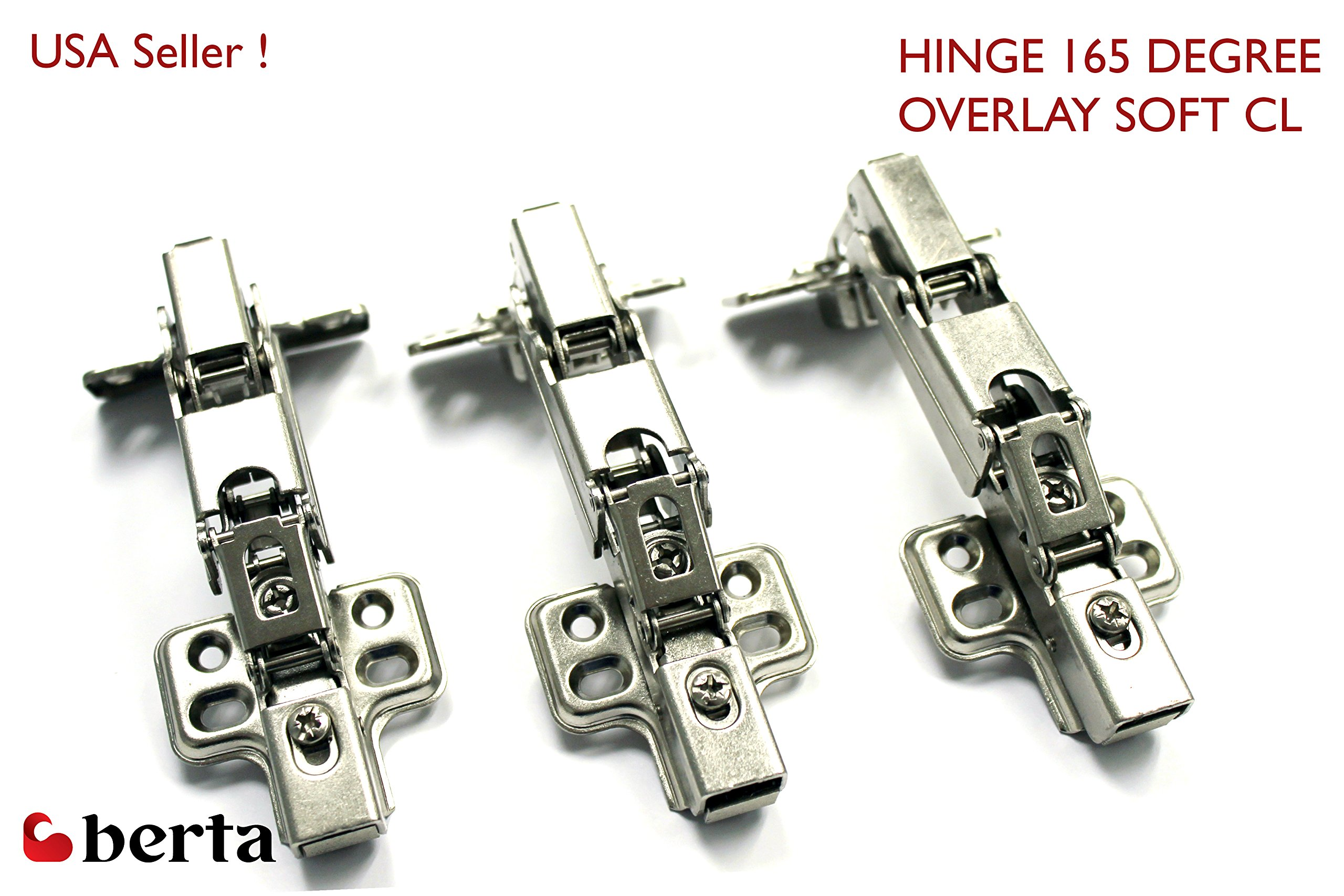 100 Pack Berta Concealed Kitchen Cabinet Door Hinge 165 Degree Soft / Self Closing Frameless Mounting Full Overlay