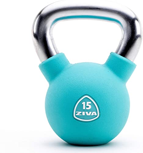 ZIVA Premium Virgin Rubber Solid Cast Steel Kettlebell Weight – Multiple Sizes 5 to 50 lbs – Odorless Design, Ergonomic Comfort Grip – Core and Strength Training Exercise Workout