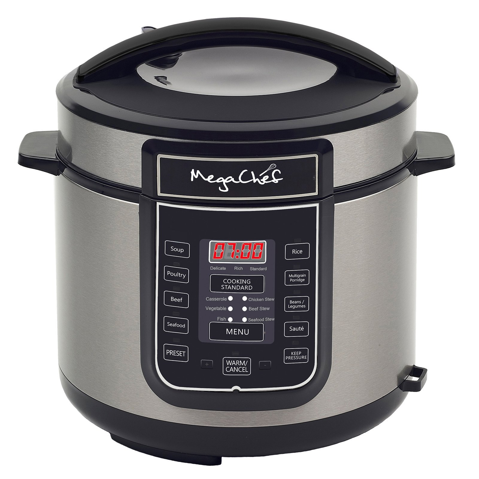 MegaChef Digital Pressure Cooker with 14 Pre-Set Multi Function Features, 6 quart