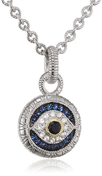 Judith Ripka Sterling Silver Evil Eye Pendant with Black White