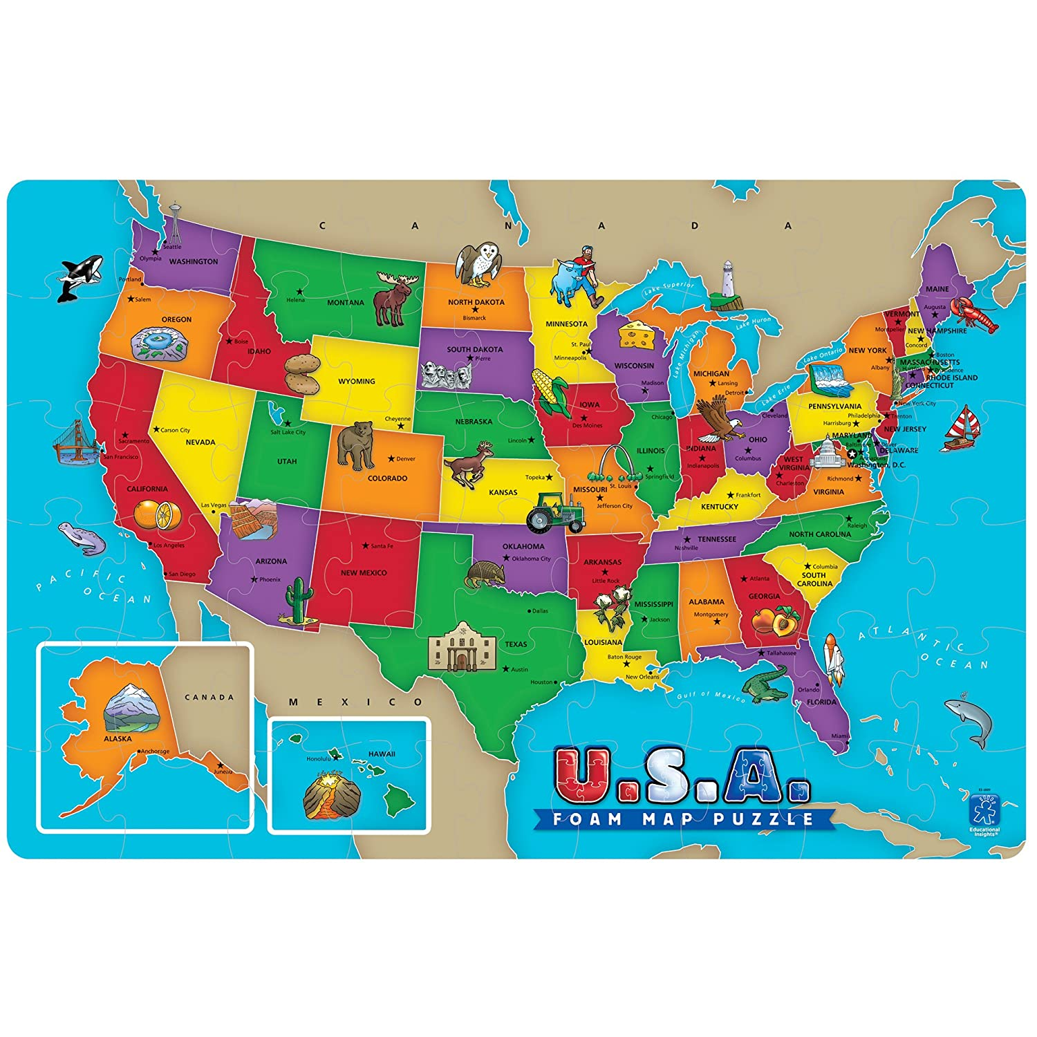 Amazoncom Piece USA Foam Map Puzzle Toys Games - Maps of the us