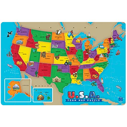 Amazon.com: Educational Insights U.S.A. Foam Map Puzzle: Toys & Games