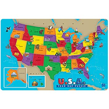 Amazon 54 piece usa foam map puzzle toys games 54 piece usa foam map puzzle gumiabroncs Image collections