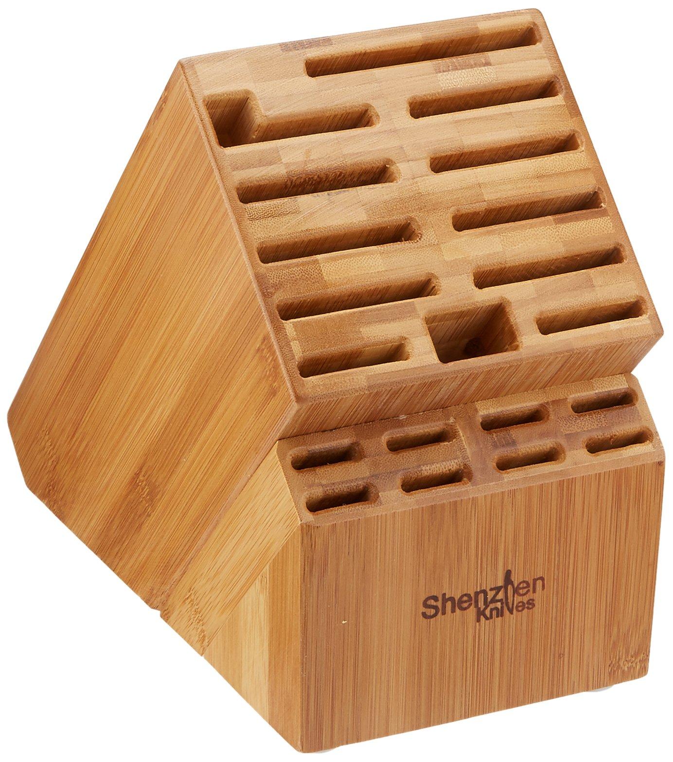 20 slot bamboo universal knife block without knives knife storage organizer ebay. Black Bedroom Furniture Sets. Home Design Ideas