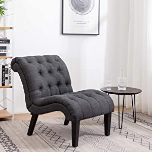 Yongqiang Upholstered Chair for Bedroom Living Room Chairs Accent Chair Lounge Chair with Wood Legs Gray Fabric