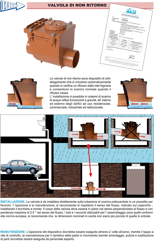 First Plast NRO110A Valvola Antiritorno in PVC con O-Ring Rosso diametro 110 mm