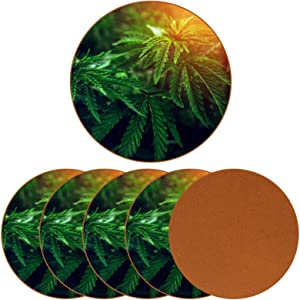 Beverage Coaster - Marijuana Weed Leaf Pattern Ceramic Drinks Coasters with Leather, 6 Pieces Sets