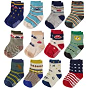 Flanhiri Baby Boys Toddler Non Skid Cotton Socks with Grip (0-6 Months, 12 pairs)