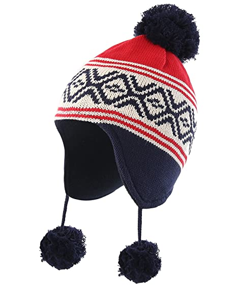 12f76e6e0c18c Connectyle Infant Toddler Boys Girls Knit Kids Hat Lined Beanie Hat with Earflap  Warm Winter Hats