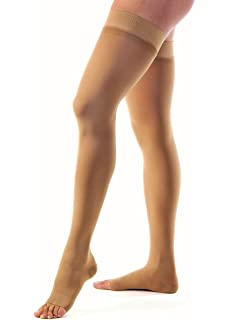 0cdb99559ef41 JOBST Relief Thigh High 15-20 mmHg Compression Stockings, Open Toe with  Silicone Dot