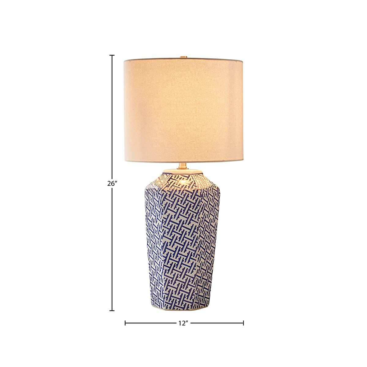 "Stone & Beam Geo Pattern Ceramic Lamp With Bulb, 26""H, Blue and White"
