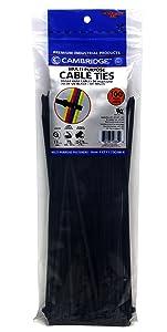 Cambridge Multi-Purpose Cable Ties 11 Inch 75 Lbs 100 Pcs, Standard Duty, UV Black