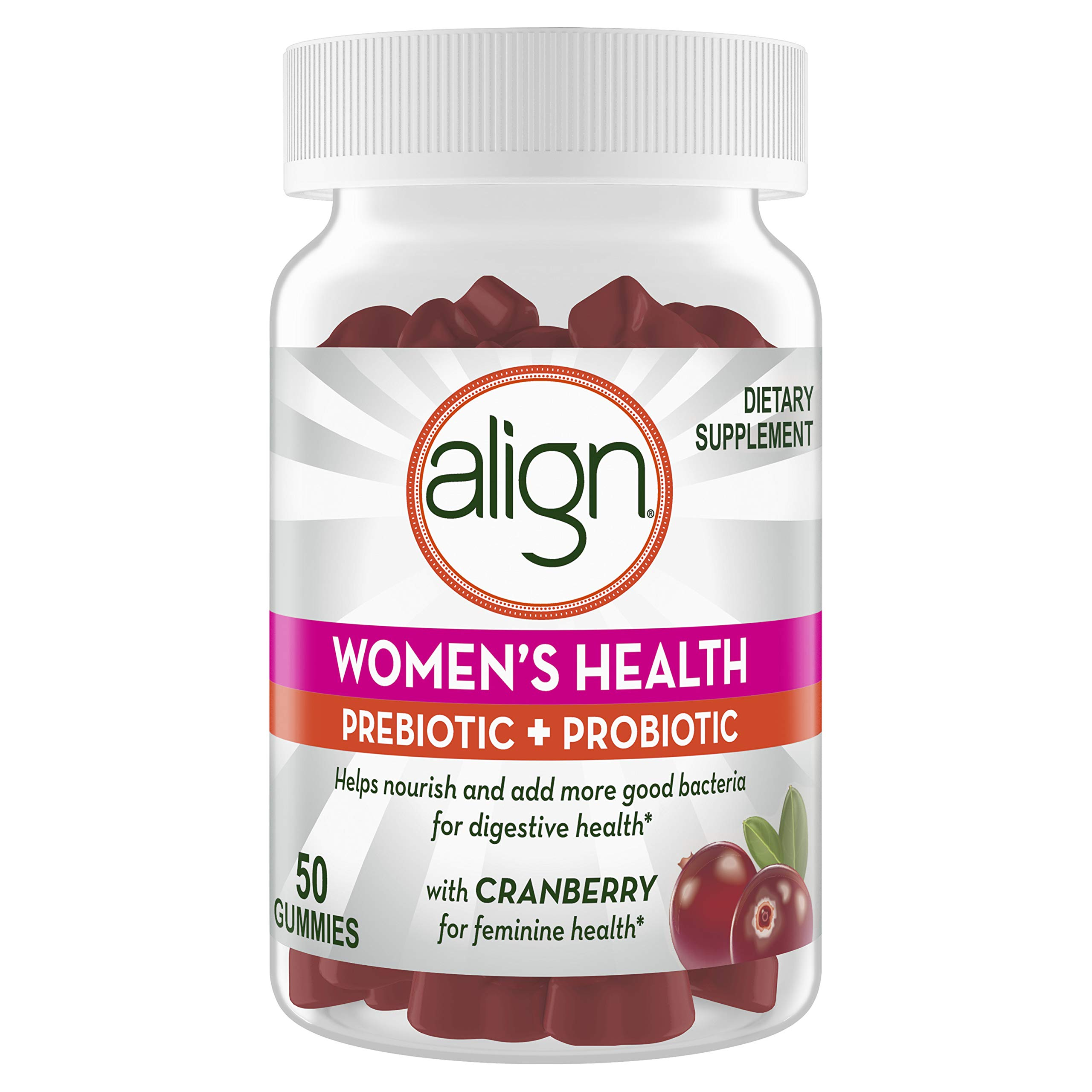 Align Women's Health, Prebiotic + Probiotic, Help Nourish & Add Good Bacteria for Digestive Health, with Cranberry for Feminine Health, 50 gummies