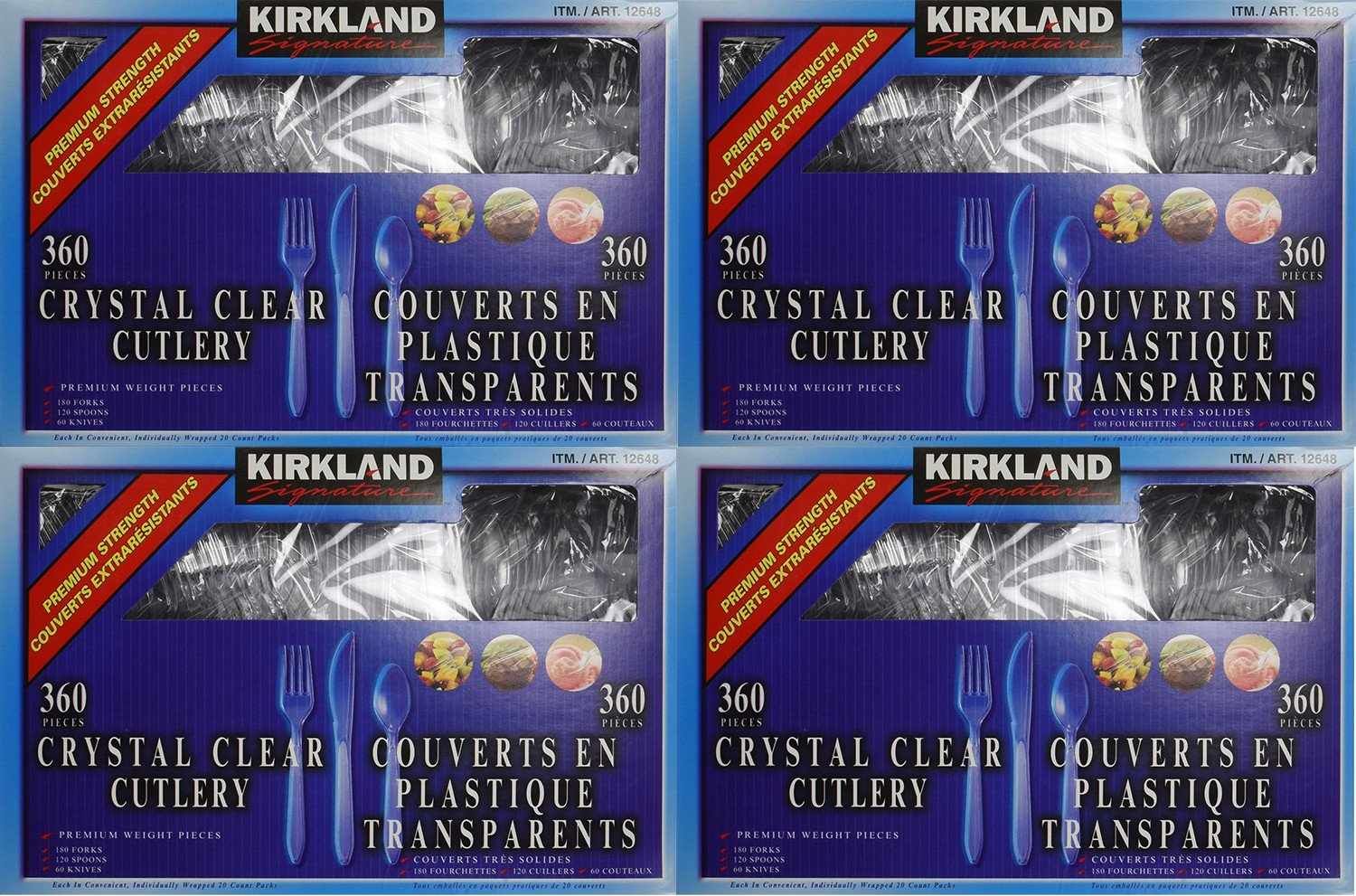 Kirkland Signature, Crystal Clear Cutlery faphq 360 Count (Pack of 4)