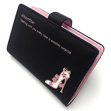 Credit Card Holder Wallet for Women Credit Card Case Leather (Black ... 80c8d9fbea