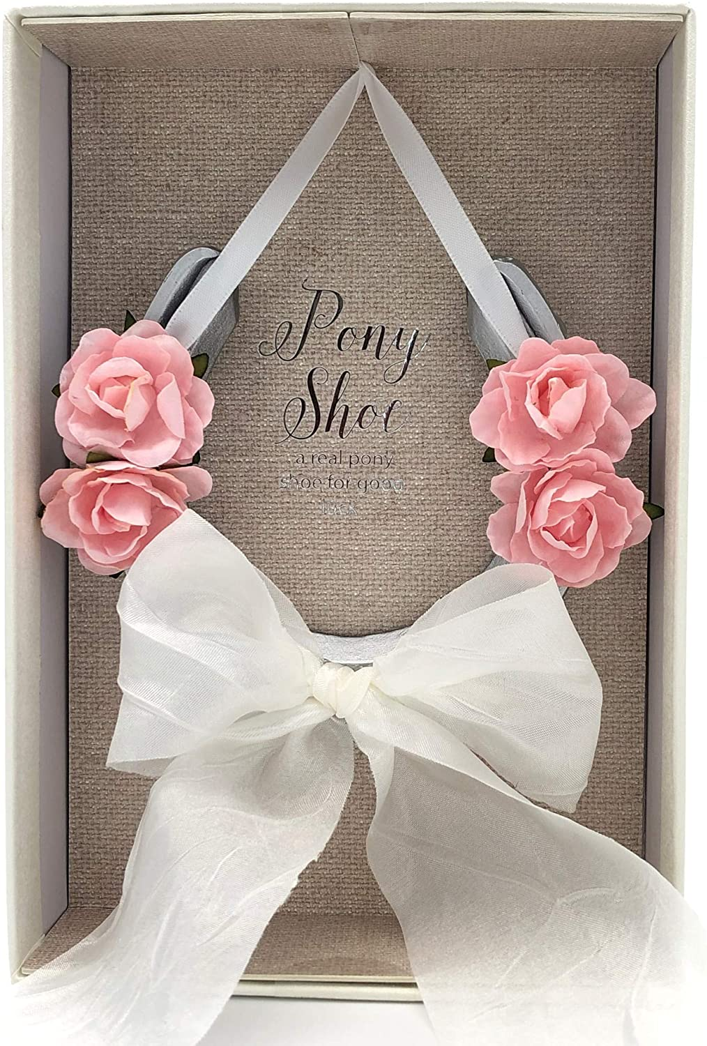 Bridal wedding lucky real horseshoe in IVORY and PEACH