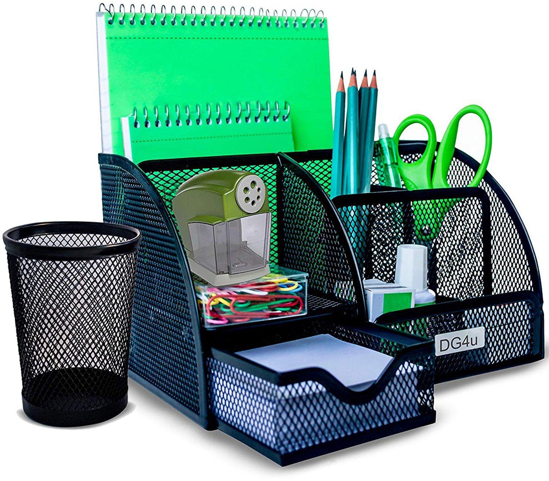 Office Desk Organizer by DG4u | 5 Compartments+1 Drawer | Bonus Wire Mesh Pencil Cup | No More Mess!