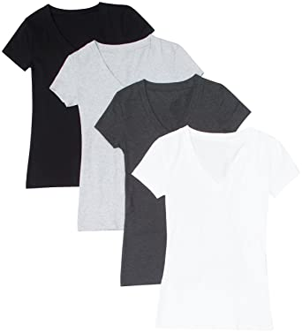 7bee2d247 Image Unavailable. Image not available for. Color: 4 Pack Zenana Women's  Basic Plus V-Neck Tees ...