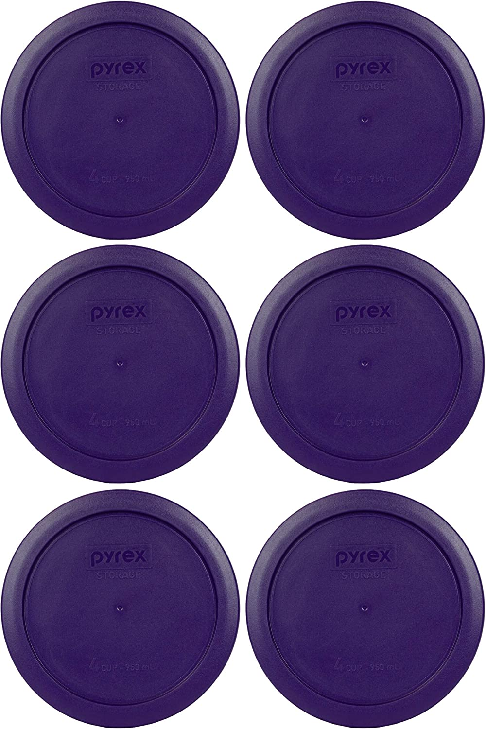 Pyrex 7201-PC 4 Cup Plum Purple Round Plastic Food Storage Lid - 6 Pack