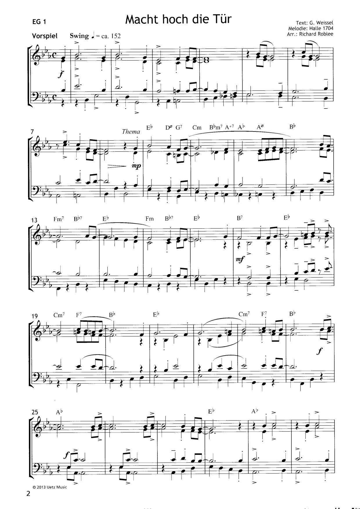 Richard Roblee 2 Arrangements Zum Evangelischen Gesangbuch